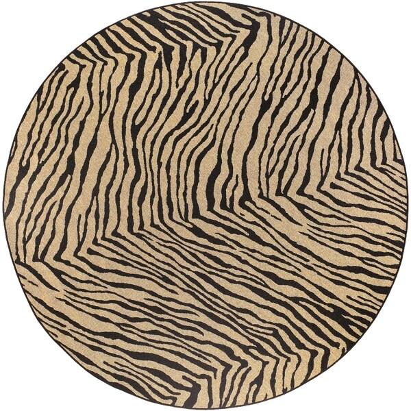 Larimer Tan Animal Print Rug (5'3 Round)