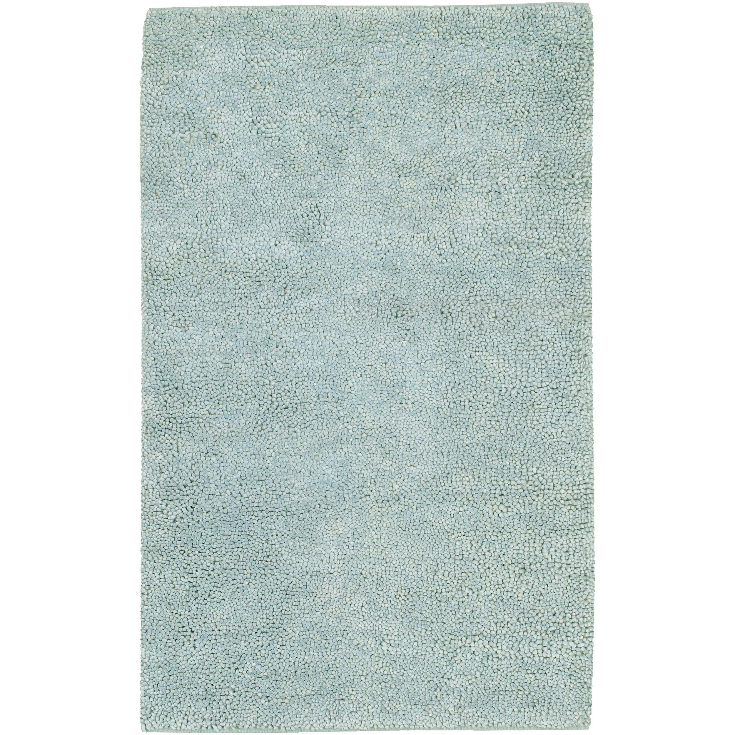 Awesome Han Woven Eagle Spa Blue Wool Rug (4u0027 X 10u0027)