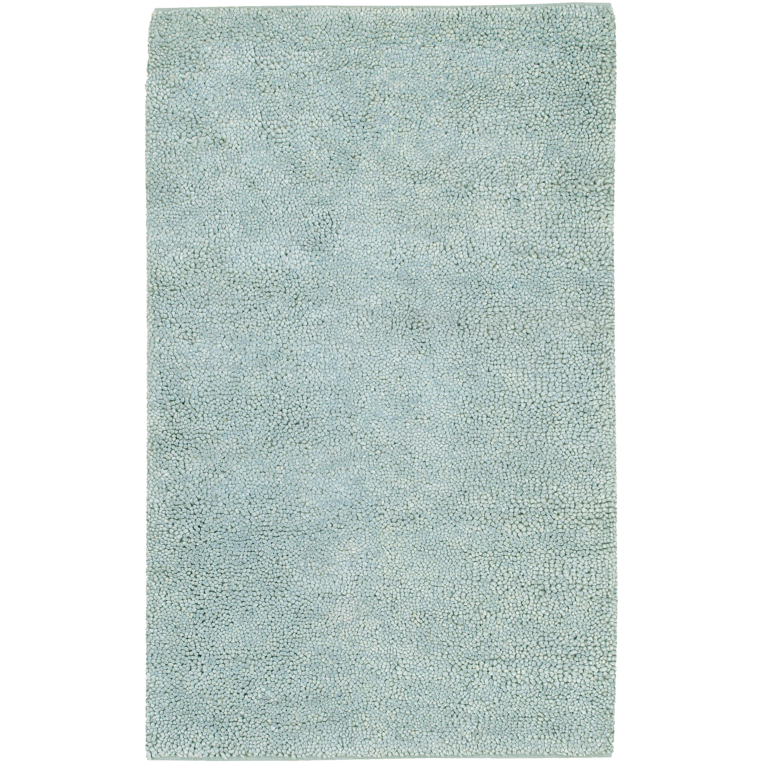 Han-woven Eagle Spa Blue Wool Rug (4' x 10')