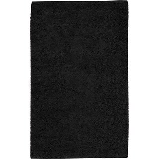 Hand-woven Lincoln Black Wool Area Rug (4' x 10')