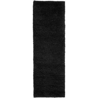 Hand-woven Lincoln Black Wool Area Rug - 4' x 10'