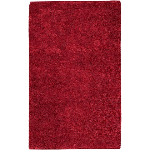 Hand-woven Montez Red Wool Area Rug - 4' x 10'