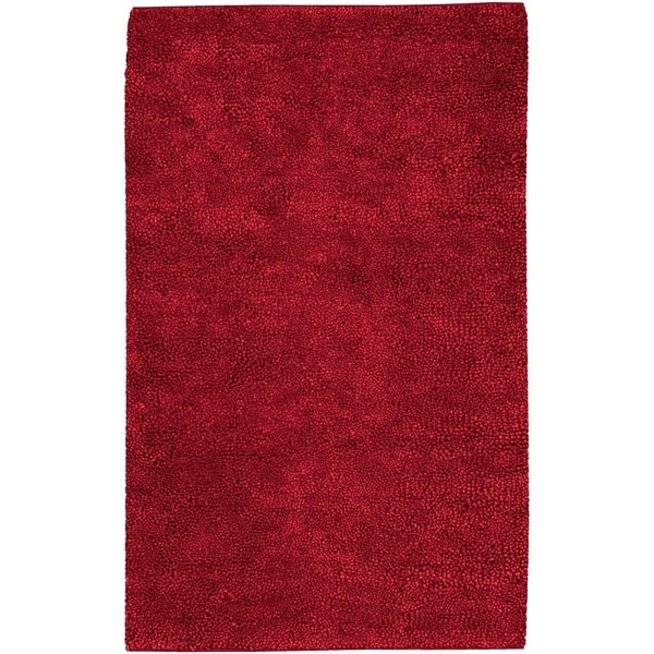 Hand-woven Arch Red Wool Area Rug - 5' x 8'
