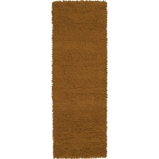 Hand-woven Akron Brown Wool Rug (4' x 10')