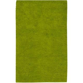 Hand-woven Arriba Lime Green Wool Rug (5' x 8')