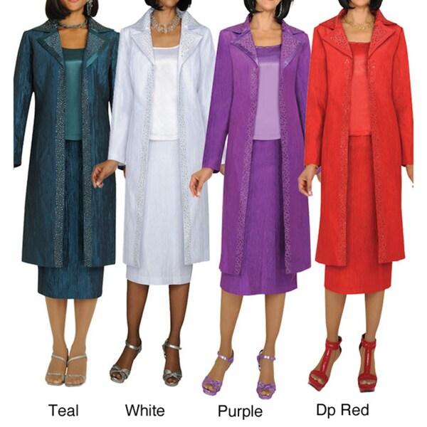 Divine Apparel Textured 3-Piece Duster Coat Womens Suit