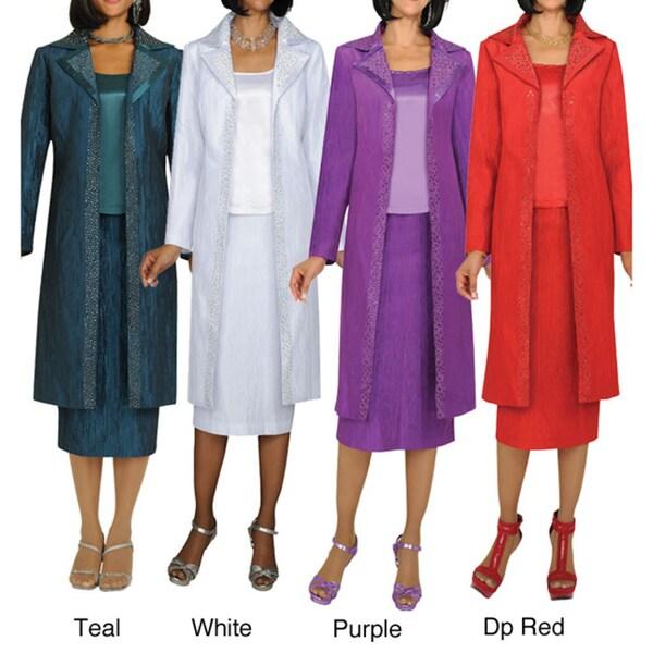 Divine Apparel Textured 3-Piece Duster Coat Missy Suit