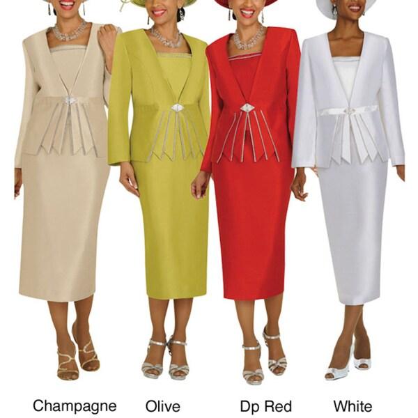 Divine Apparel Rhinestone Strand Detail Missy Skirt Suit