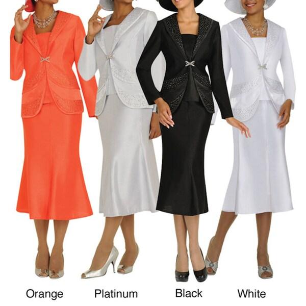 Divine Apparel Shawl Collar Panel Womens Skirt Suit