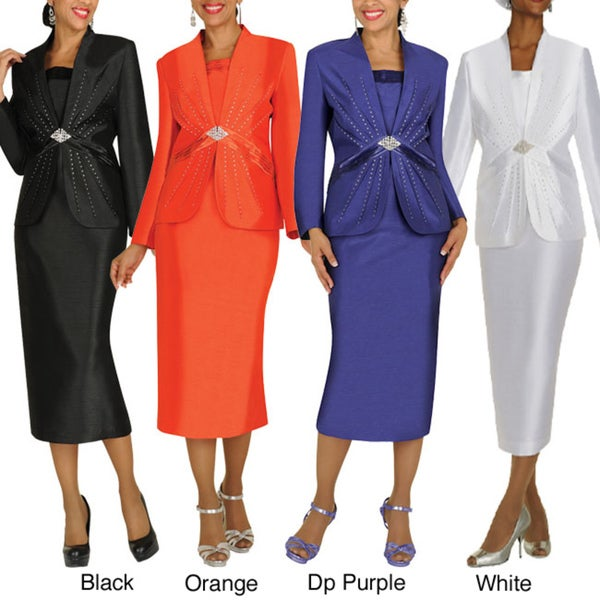 Divine Apparel Ribbon and Pleat Detail Womens Skirt Suit