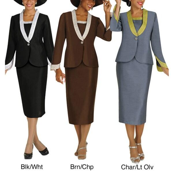 Divine Apparel 3-Piece Color Block Missy Skirt Suit