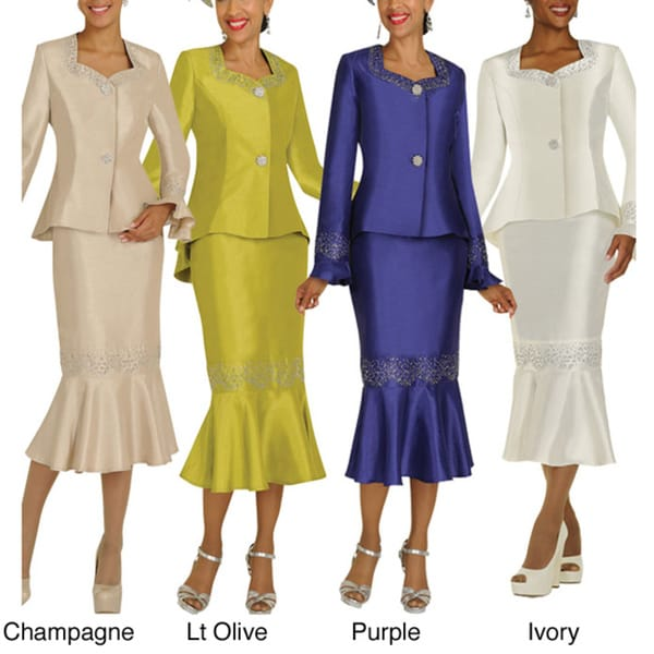 Divine Apparel High-Low Rhinestone Trim Missy Skirt Suit