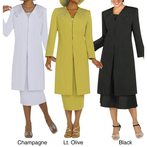 Divine Apparel Embroidered Duster & Dress Plus Suit