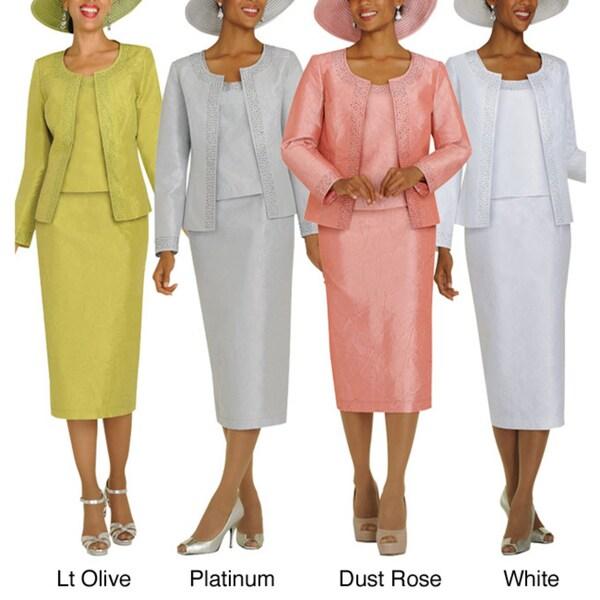 Divine Apparel Hammered Satin Missy Skirt Suit