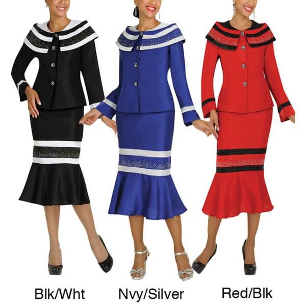 Divine Apparel Caplet Collar Color-Block Womens Skirt Suit