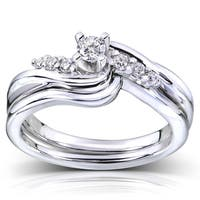 Annello by Kobelli 14k White Gold 1/5ct TDW Diamond Bridal Ring Set