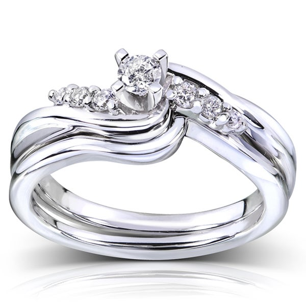 Annello by Kobelli 14k White Gold 1/5ct TDW Diamond Bridal Ring Set (G-H, I1-I2)