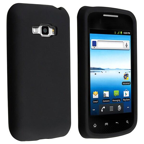 INSTEN Black Soft Silicone Phone Case Cover for LG Optimus Elite LS696