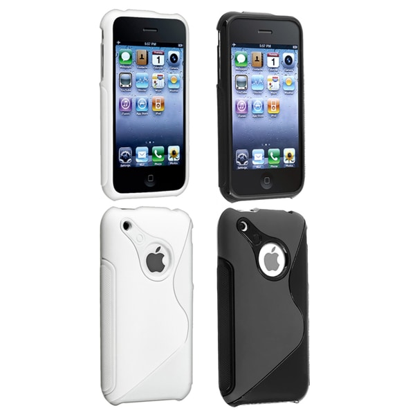 BasAcc Black/ White TPU Rubber Case for Apple iPhone 3G/ 3GS