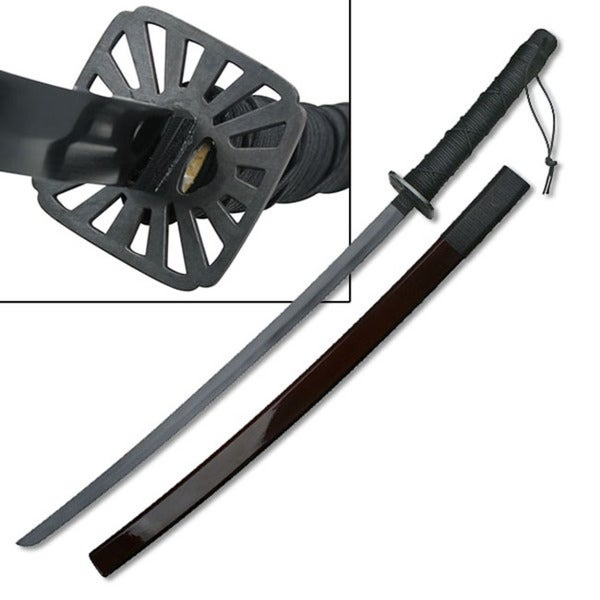 Master Cutlery Samurai Sword with Cord Wrapped Handle and Burgundy Scabbard