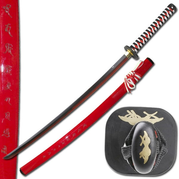 Master Cutlery Samurai Katana Sword with Two-tone Red Blade