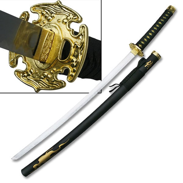 Master Cutlery Anime Cosplay Samurai Sword with Gold Color Flaming Pattern