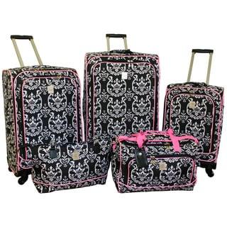 Shop Jenni Chan Damask Black Pink 5 Piece Spinner