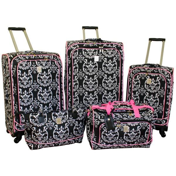 Jenni Chan Damask Black / Pink 5-piece Spinner Luggage Set