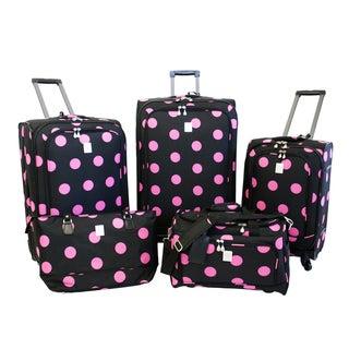 Jenni Chan Dots Black / Pink 5-piece Spinner Luggage Set