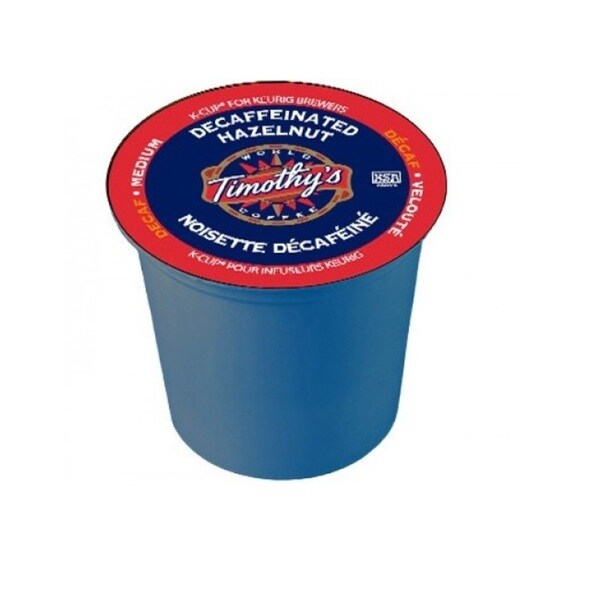 Timothy's World Coffee, Hazelnut Decaffeinated K-Cups for Keurig Brewers 96 K-Cups
