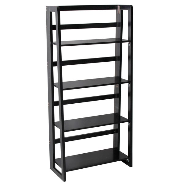 Black Finish 4-tier Ladder Bookcase Display Shelf
