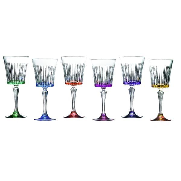 Lorren Home Trend Timeless Multicolor Wine Glasses (Set of 6)