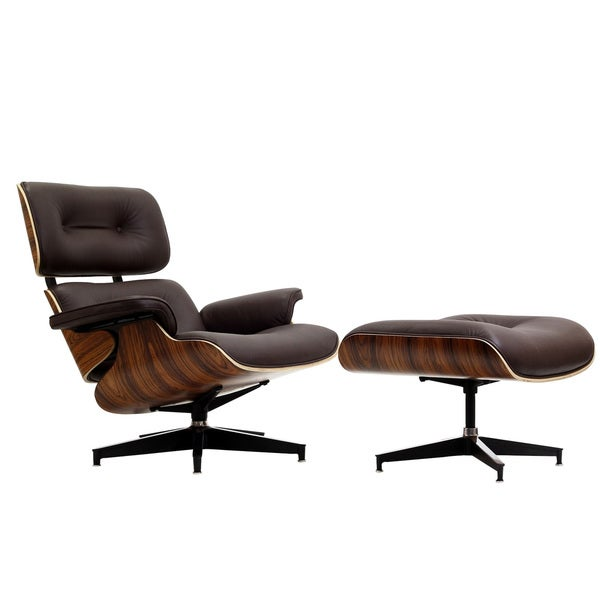 Eaze Brown Leather/ Palisander Wood Lounge Chair