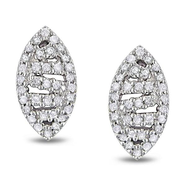 Miadora 10k White Gold 1/4ct TDW Diamond Earrings (H-I, I2-I3)