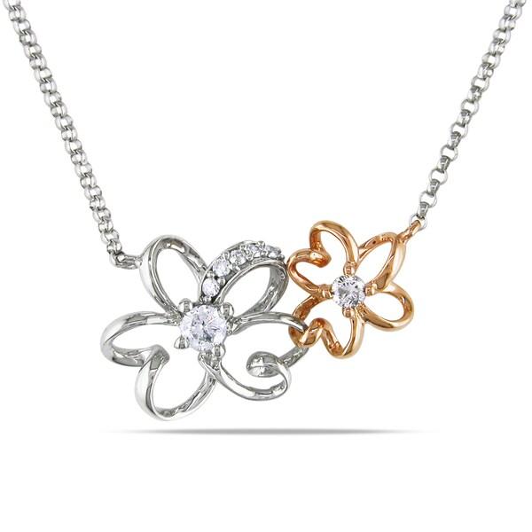 Miadora 14k Two-tone Gold 1/6ct TDW Diamond Flower Necklace