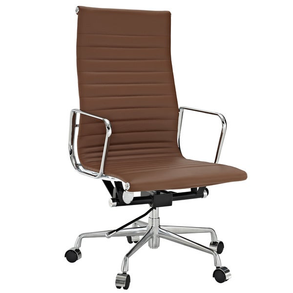 Terracotta Genuine Leather Ribbed High Back Office Chair
