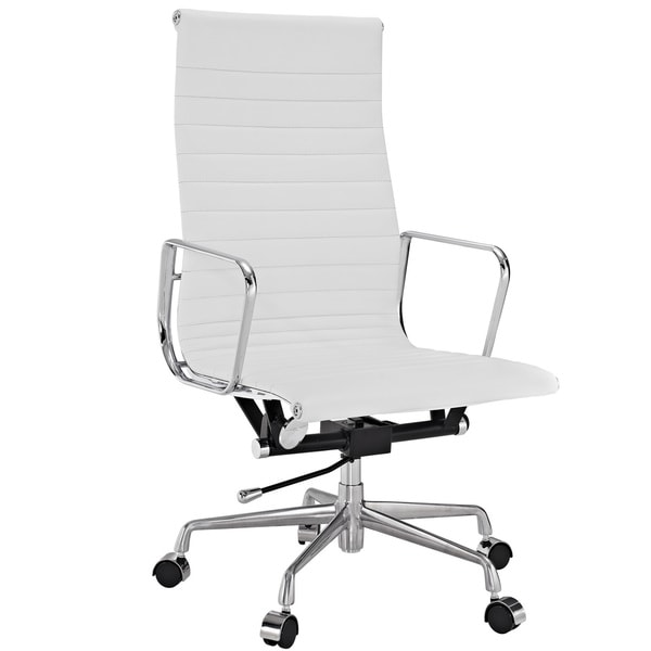 office chair genuine leather white. White Genuine Leather Ribbed High Back Office Chair D