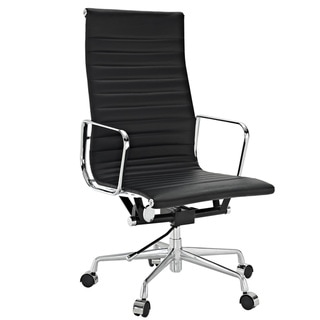 Black Genuine Leather Ribbed High Back Office Chair