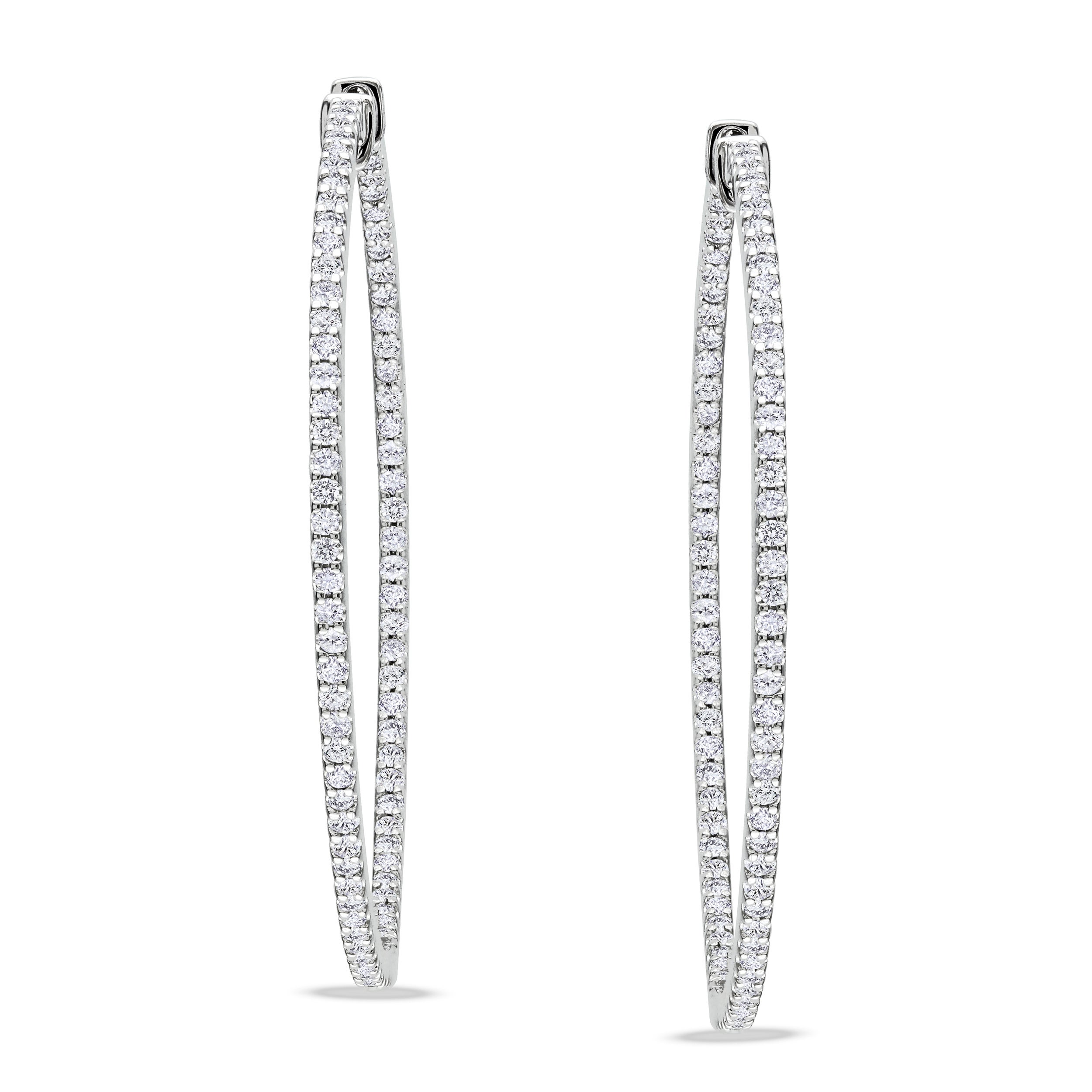 Miadora Design 14k White Gold 1ct TDW Diamond Hoop Earrings