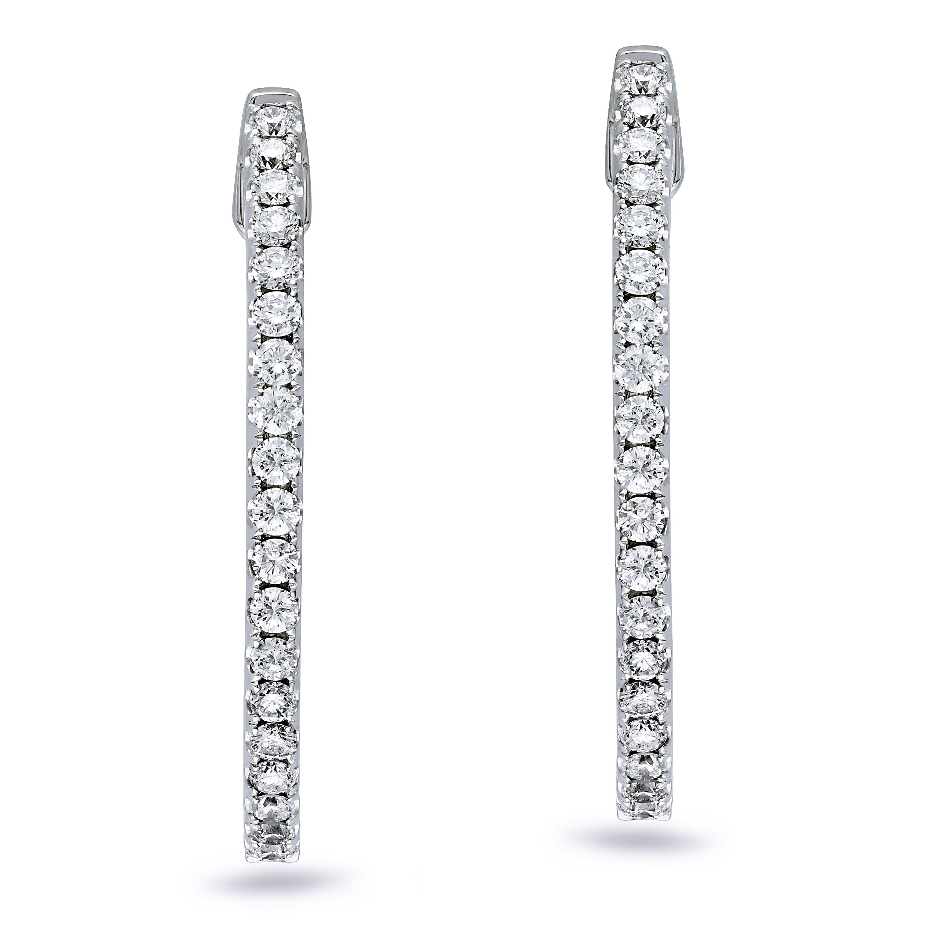 Miadora Signature Collection 14k White Gold 1ct TDW Diamond Hoop Earrings
