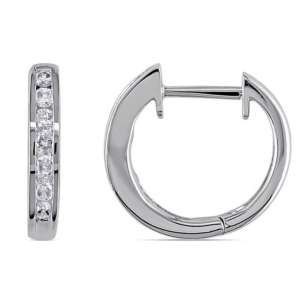 Miadora 10k White Gold 1/4ct TDW Channel-set Diamond Hoop Earrings