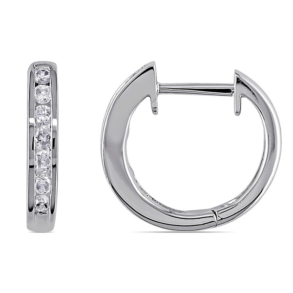 Miadora 10k White Gold 1/4ct TDW Channel-set Diamond Hoop Earrings (G-H, I2-I3)