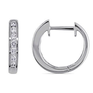 Miadora 10k White Gold 1/4ct TDW Channel-set Diamond Hoop Earrings