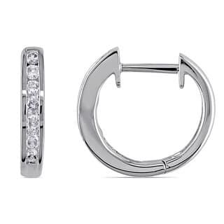 Miadora 10k White Gold 1/4ct TDW Channel-set Diamond Hoop Earrings|https://ak1.ostkcdn.com/images/products/7191448/P14678582.jpg?impolicy=medium