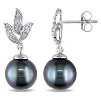 Miadora 10k Gold Tahitian Pearl and 1/10ct TDW Diamond Earrings (H-I, I2-I3)