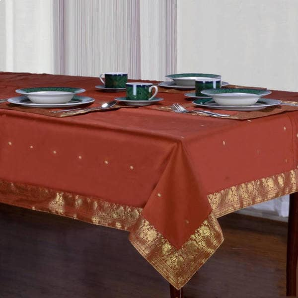Handmade Rust Sari Table Cloth (India)
