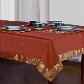 Handmade Rust Sari Table Cloth (India)