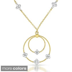 Collette Z Gold over Silver Cubic Zirconia Drop Necklace