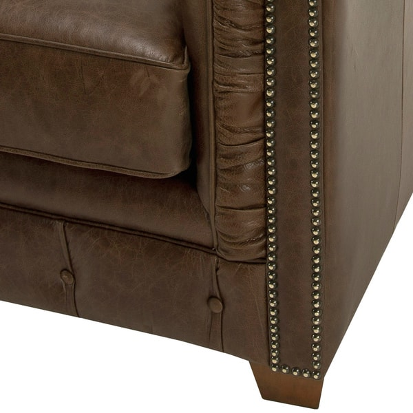 50007fd1d1b Hancock Tufted Brown Leather Chesterfield Sofa