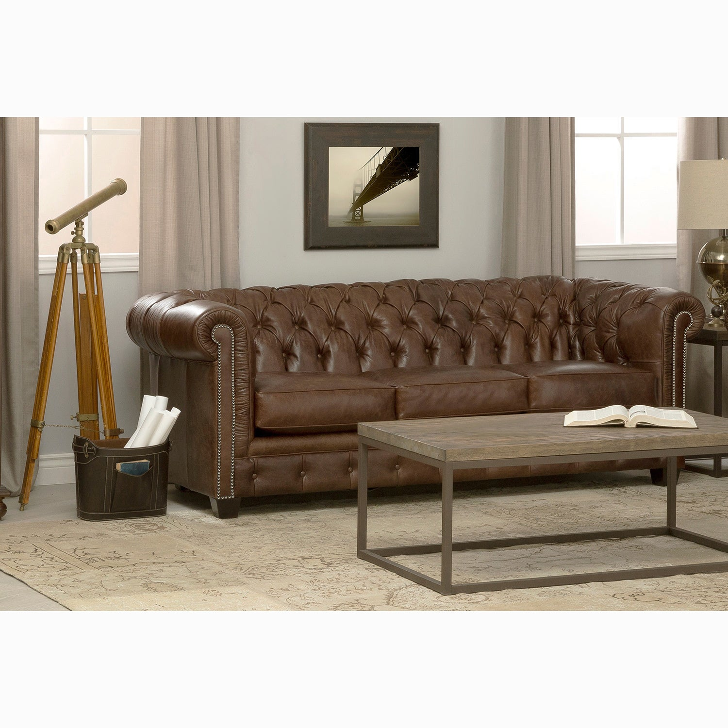 Rustic Han Tufted Distressed Brown Premium Italian Chesterfield Leather Sofa